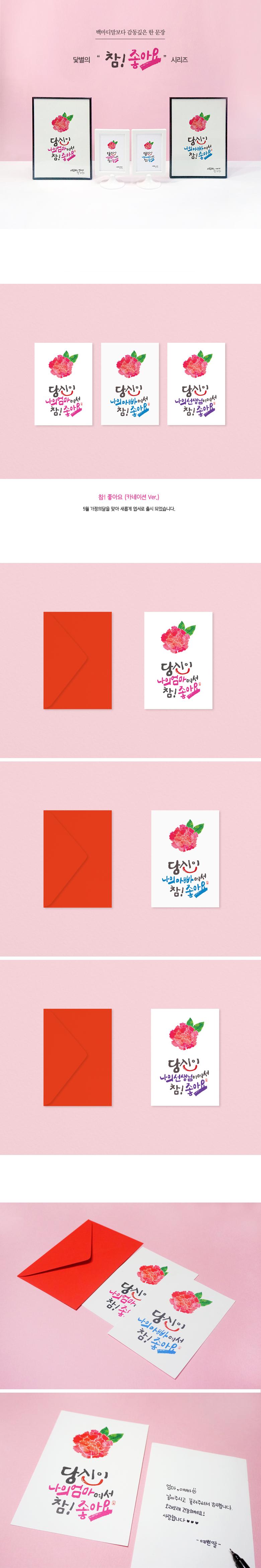 카네이션 캘리그라피 엽서+봉투 (참좋아요 엄마) - 닻별, 1,200원, 카드, 감사 카드